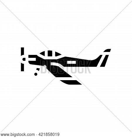Airplane Flight School Glyph Icon Vector. Airplane Flight School Sign. Isolated Contour Symbol Black