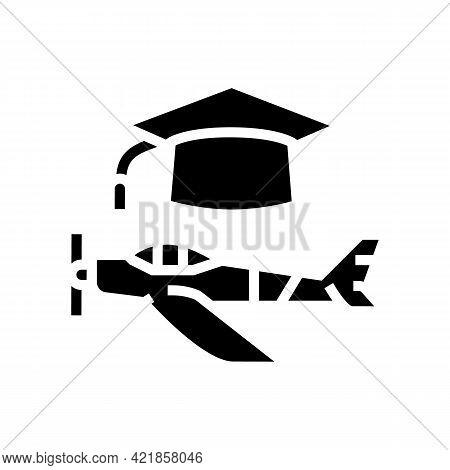 Graduate Flight School Glyph Icon Vector. Graduate Flight School Sign. Isolated Contour Symbol Black