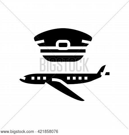 Commercial Aviation Flight School Glyph Icon Vector. Commercial Aviation Flight School Sign. Isolate