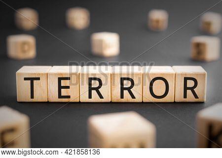 Terror - Word From Wooden Blocks With Letters, Terror Horror, Consternation, Nightmare, Atrocity, Co