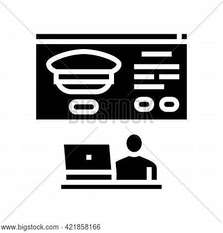 Online Registration In Flight School Glyph Icon Vector. Online Registration In Flight School Sign. I