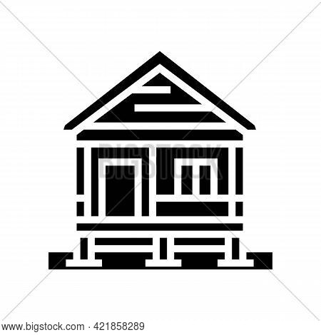 Bungalow House Glyph Icon Vector. Bungalow House Sign. Isolated Contour Symbol Black Illustration