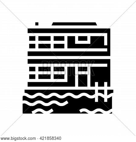 Floating On Water Residence House Glyph Icon Vector. Floating On Water Residence House Sign. Isolate
