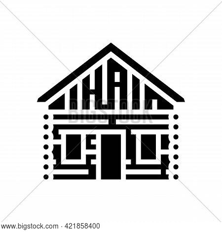 Cabin House Glyph Icon Vector. Cabin House Sign. Isolated Contour Symbol Black Illustration