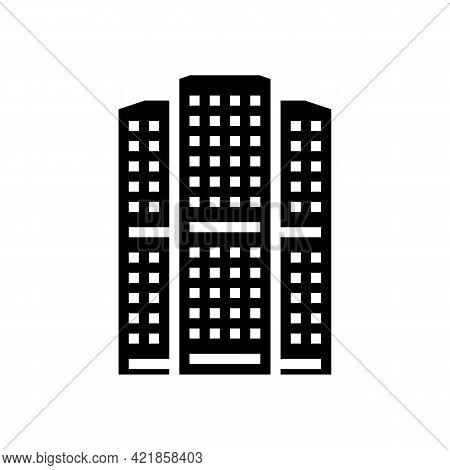 Apartment House Glyph Icon Vector. Apartment House Sign. Isolated Contour Symbol Black Illustration
