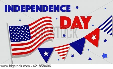 Vector Banner For The Us Independence Day. Us Flag, Salute, Stars