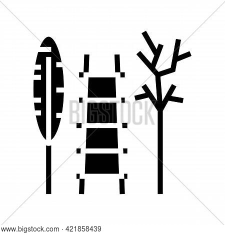 Stairs And Tool For Care House Plant Glyph Icon Vector. Stairs And Tool For Care House Plant Sign. I
