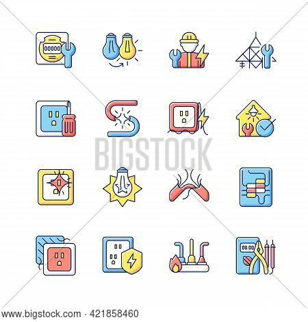 Electrician Service Rgb Color Icons Set. Changing Lightbulb. Operating With Electric Devices, Equipm