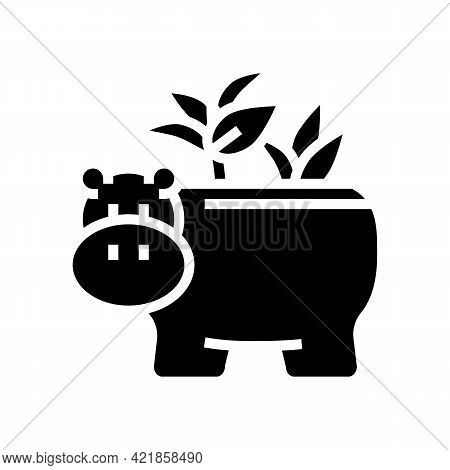 Pot In Hippopotamus Form For House Plant Glyph Icon Vector. Pot In Hippopotamus Form For House Plant