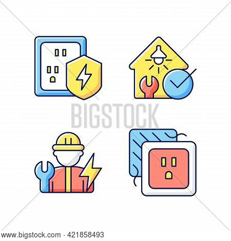 Electrician Service Rgb Color Icons Set. Surge Protection. Electrical Safety Inspection. Isolated Ve