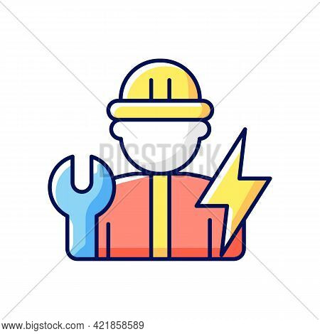 Electrician Rgb Color Icon. Electrical Wiring System Installation And Maintenance. Isolated Vector I