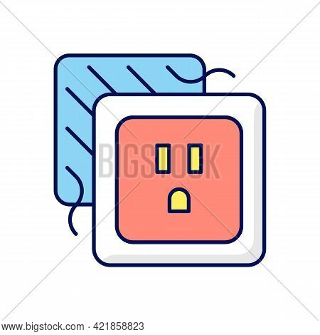 Loose Outlet Rgb Color Icon. Electricity Flow Disruption. Faulty Electrical Outlet. Loose Connecting