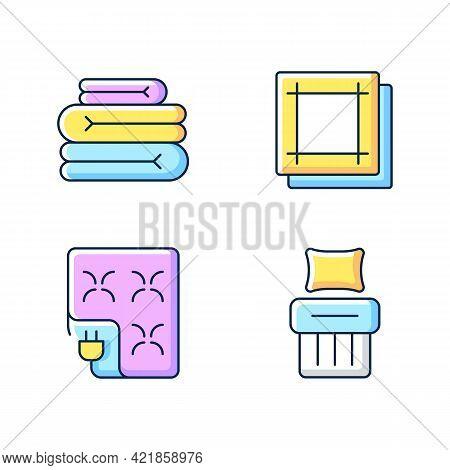 Household Textile Rgb Color Icons Set. Folded Sheets. Electric Blanket. Kitchen Napkins. Linen Beddi