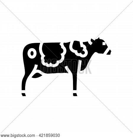 Cow Domestic Animal Glyph Icon Vector. Cow Domestic Animal Sign. Isolated Contour Symbol Black Illus