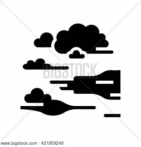 Fog Smoke Glyph Icon Vector. Fog Smoke Sign. Isolated Contour Symbol Black Illustration