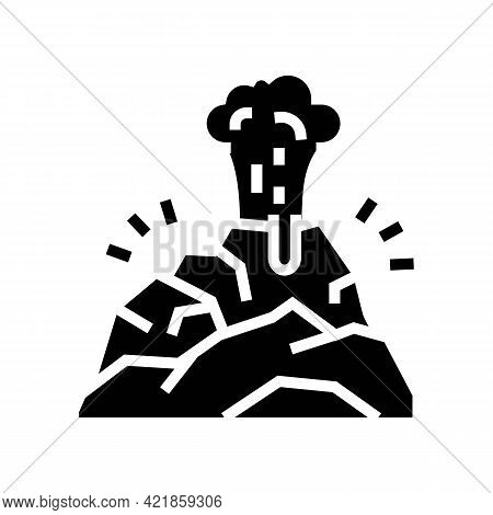 Volcano Smoke Glyph Icon Vector. Volcano Smoke Sign. Isolated Contour Symbol Black Illustration