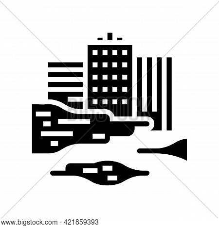 Urban Smog Smoke Glyph Icon Vector. Urban Smog Smoke Sign. Isolated Contour Symbol Black Illustratio