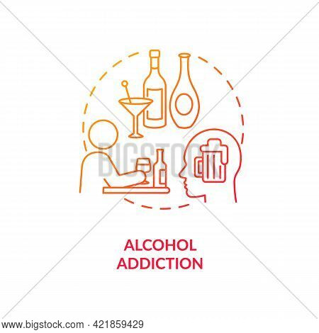 Alcohol Addiction Concept Icon. Addiction Types. Special Treatment Of Alcoholism Problems. Health Ca