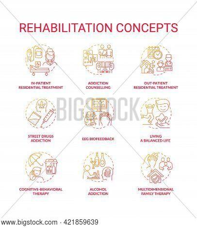 Rehabilitation Concept Icons Set. Addiction Recovery Steps. Addiction Medical Treatment Methods. Reh