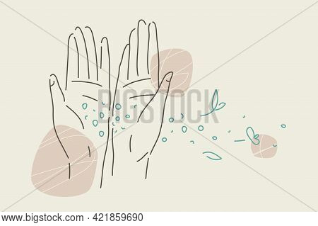 Sand And Petals Trickle Through Fingers. Linear Illustration With Female Open Palms And Flying Parti