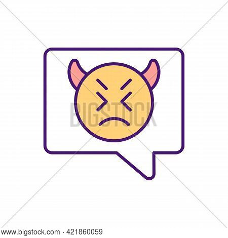 Embarrassing Someone With Hateful Text Messages Rgb Color Icon. Using Social Media For Threats. Spre