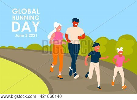 Global Running Day. Happy Family Running In The Park. Father, Mother, Son And Daughter Leads An Acti