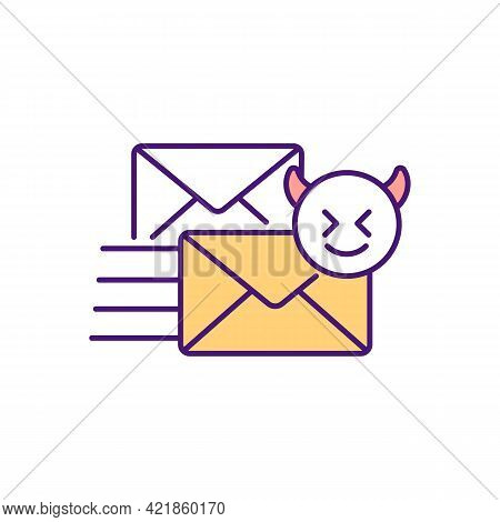 Cyber Bullying Via Emails Rgb Color Icon. Sending Abusive, Threatening Text Messages. Stalking And H