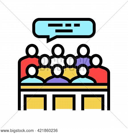 Trial Jury Color Icon Vector. Trial Jury Sign. Isolated Symbol Illustration