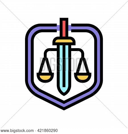Justice Law Color Icon Vector. Justice Law Sign. Isolated Symbol Illustration