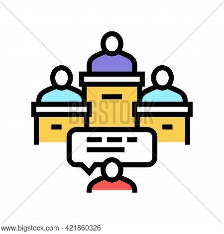 Litigation Law Procedure Color Icon Vector. Litigation Law Procedure Sign. Isolated Symbol Illustrat