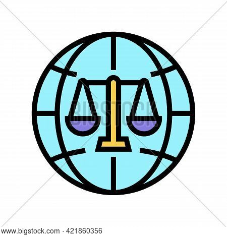 International Jurisprudence Color Icon Vector. International Jurisprudence Sign. Isolated Symbol Ill