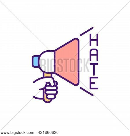 Hate Speech In Cyberspace Rgb Color Icon. Expressions About Violence And Discrimination Against Some