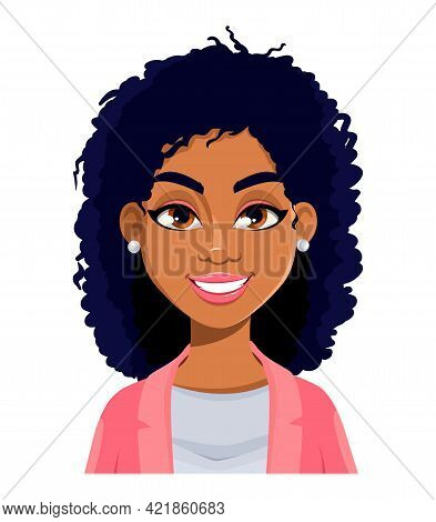 Face Expression Of Beautiful African American Woman, Cheerful. Female Emotion. Cute Cartoon Characte