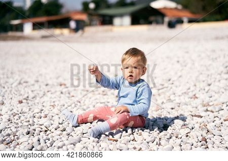 Cute Child In A Blue Blouse And Red Pants Sits On A Pebble Beach, Holding Up A Pebble In His Hand