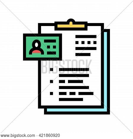 Form Of Motel Visitor Color Icon Vector. Form Of Motel Visitor Sign. Isolated Symbol Illustration