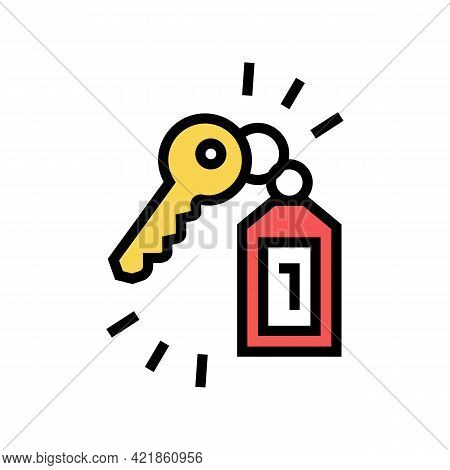 Key Of Apartment Motel Color Icon Vector. Key Of Apartment Motel Sign. Isolated Symbol Illustration