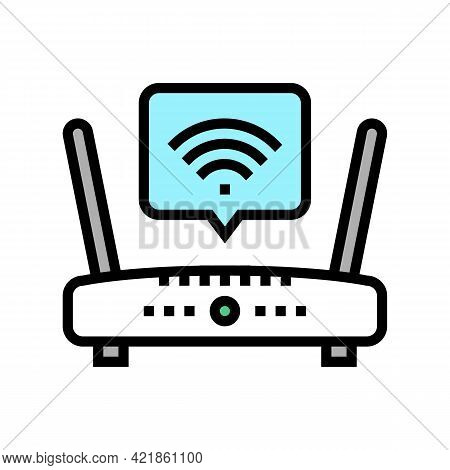 Wifi Internet In Motel Color Icon Vector. Wifi Internet In Motel Sign. Isolated Symbol Illustration