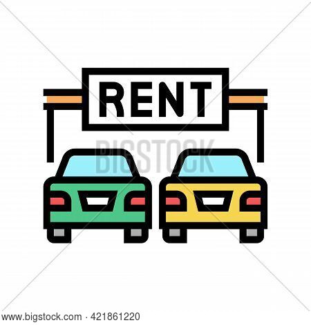 Rent Car Motel Service Color Icon Vector. Rent Car Motel Service Sign. Isolated Symbol Illustration