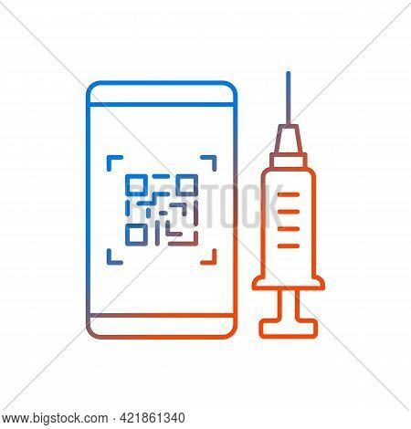 Qr Code For Vaccination Gradient Linear Vector Icon. Smartphone Pass For Vaccinated. Mobile Id For C