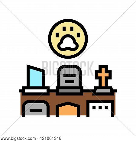 Cemetery Pet Color Icon Vector. Cemetery Pet Sign. Isolated Symbol Illustration