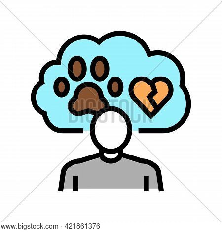 Childhood Trauma Pet Funeral Color Icon Vector. Childhood Trauma Pet Funeral Sign. Isolated Symbol I