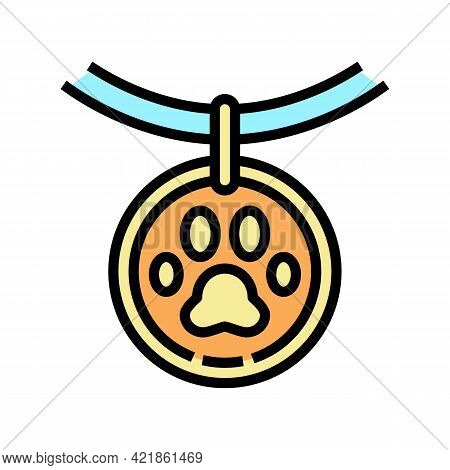 Medallion Dead Pet Color Icon Vector. Medallion Dead Pet Sign. Isolated Symbol Illustration