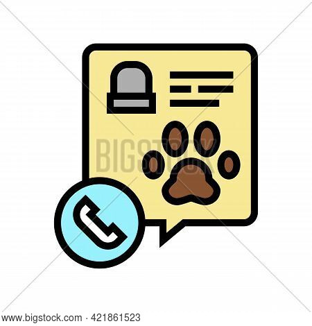 Calling Pet Funeral Service Color Icon Vector. Calling Pet Funeral Service Sign. Isolated Symbol Ill