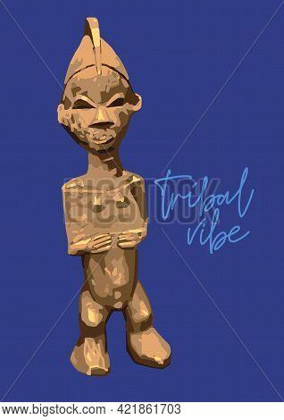 Vintage Primitive Woodenn Statuette Of A Human.