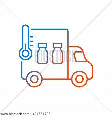 Vaccine Transportation Gradient Linear Vector Icon. Drug Distribution. Pharmaceutical Remedy Shipmen