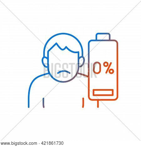 Vaccination Effect Gradient Linear Vector Icon. Drowsiness And Fatigue. Mental Burnout. Physical Wea