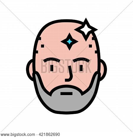 Bearded Man With Shaved Head Color Icon Vector. Bearded Man With Shaved Head Sign. Isolated Symbol I