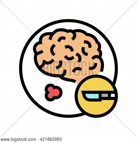 Surgical Operation Brain Stroke Treatment Color Icon Vector. Surgical Operation Brain Stroke Treatme