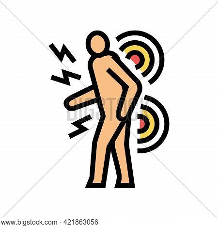 Human Back Stroke Color Icon Vector. Human Back Stroke Sign. Isolated Symbol Illustration