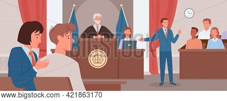 Court Judgment, Law Justice Concept, Advocate Or Prosecutor Giving Speech In Courtroom